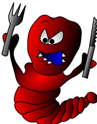red angry worm with sharp teeth holding fork and knife